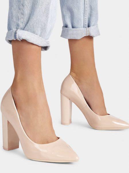 Pantofi Dama Nude Cu Toc Gros
