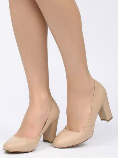 Pantofi Dama Nude Cu Toc Mediu 7 Cm
