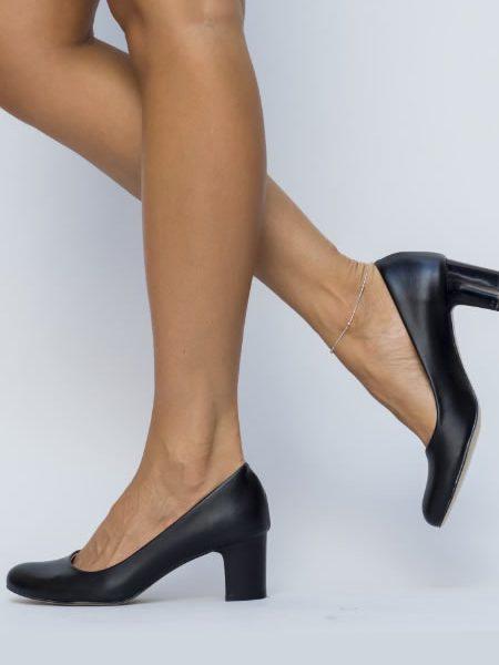 Pantofi Dama Office Cu Toc Gros Negri