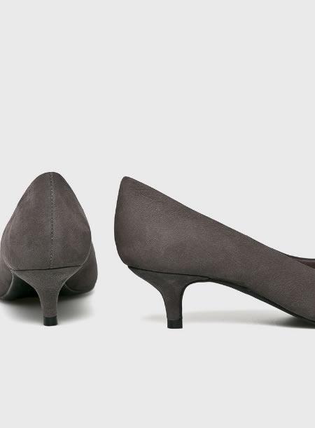 Pantofi Dama Office Gri Cu Toc Kitten Heel