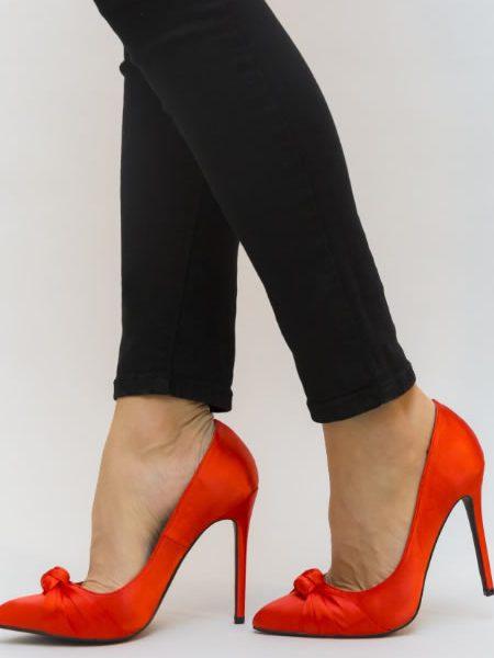 Pantofi Dama Rosii Eleganti Din Satin