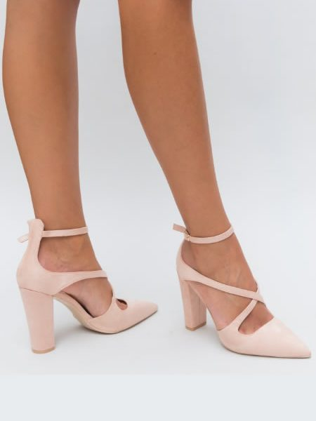 Pantofi Dama Roz Cu Toc Gros Si Barete