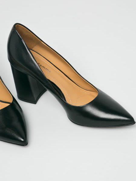 Pantofi Damadin Piele Naturala Cu Toc Gros Solo Femme