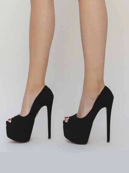 Pantofi De Club Cu Toc Cui Si Platforma Inalta Negrii