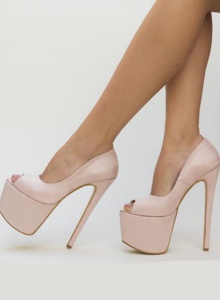 Pantofi De Club Cu Toc Cui Si Platforma Inalta Nude