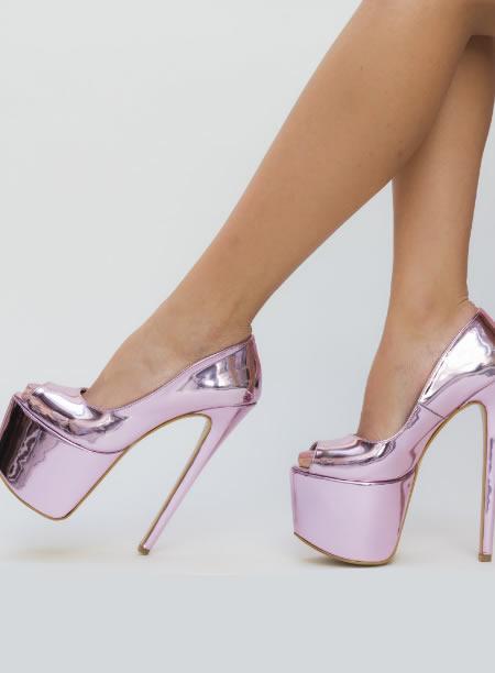 Pantofi De Club Cu Toc Cui Si Platforma Inalta Roz