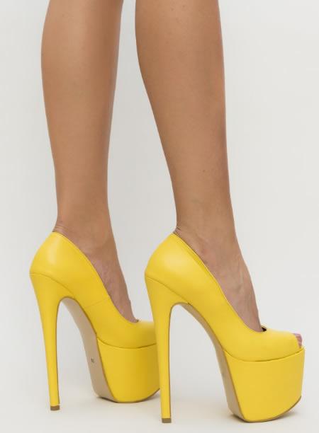 Pantofi De Club Foarte Inalti Galbeni