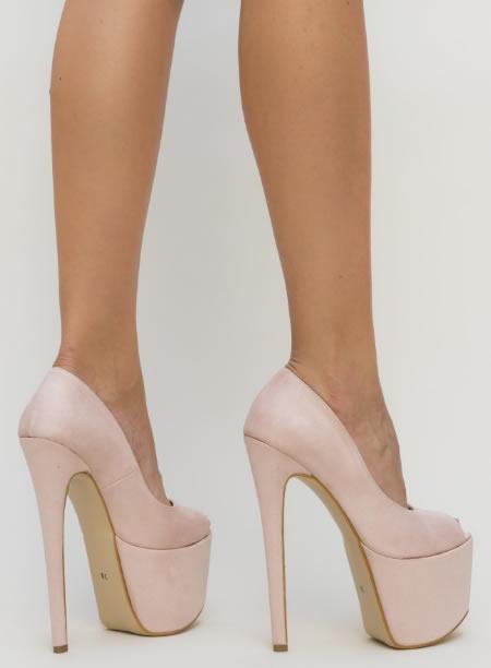 Pantofi De Club Foarte Inalti Nude