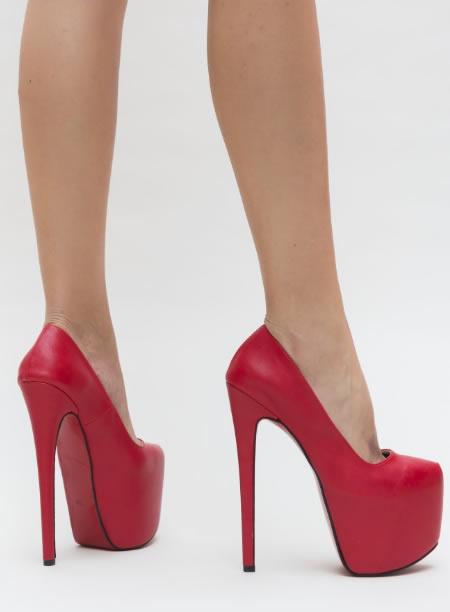 Pantofi De Club Foarte Inalti Rosii