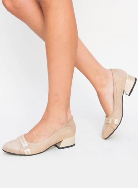 Pantofi De Dama Bej Cu Toc Jos