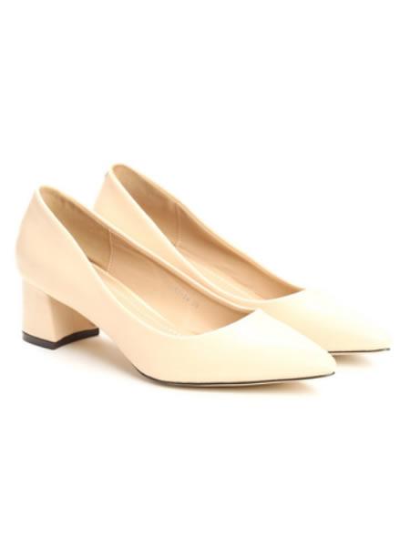 Pantofi De Dama Bej Cu Toc Mic Patrat