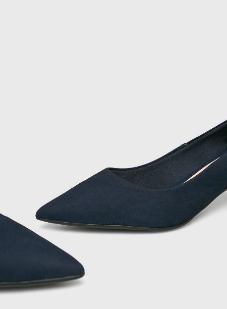 Pantofi De Dama Cu Toc Kitten Heel Bleumarin