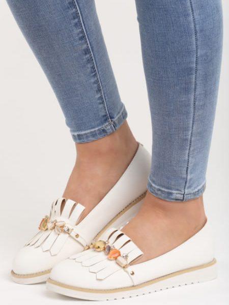 Pantofi De Dama Mocasini Albi