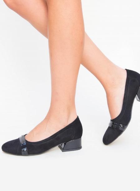 Pantofi De Dama Negrii Cu Toc Jos