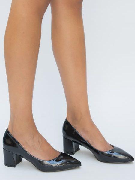 Pantofi De Lac Negrii Cu Toc