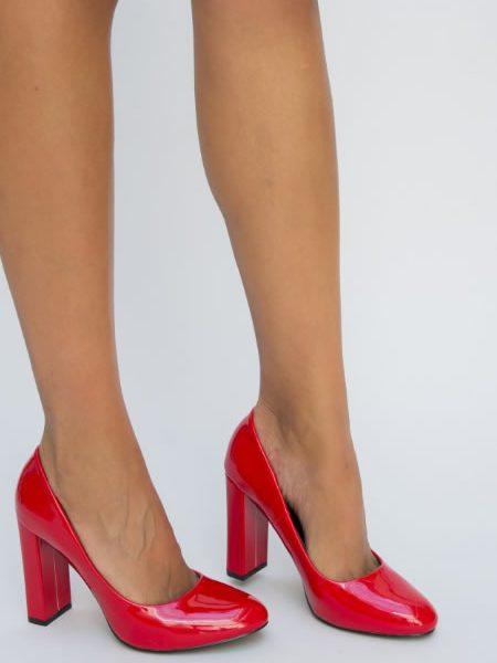 Pantofi De Lac Rosii Cu Toc Gros Inalt