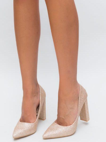 Pantofi De Ocazie Aurii Cu Toc Gros