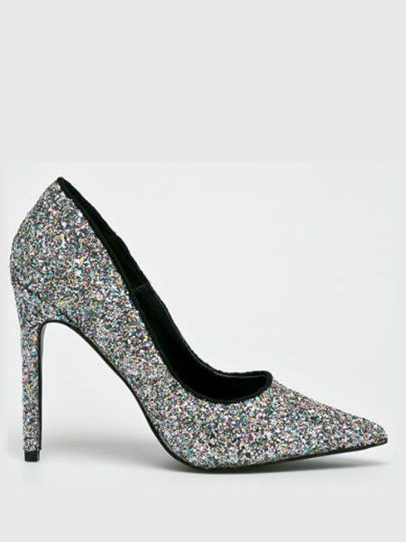 Pantofi argintii cu sclipici