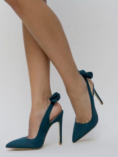 Pantofi De Ocazie Verzi Cu Spatele Decupat