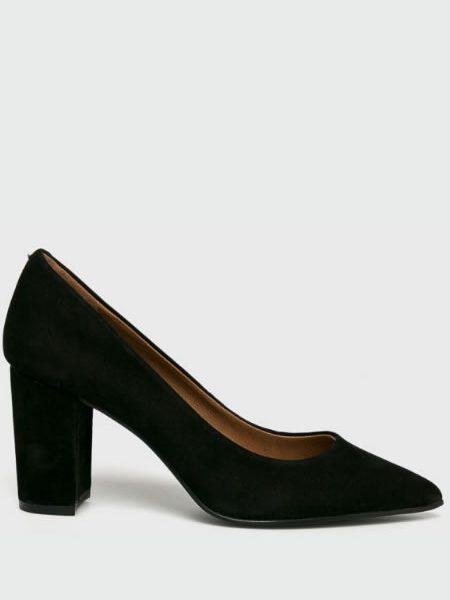 Pantofi De Piele Cu Toc Gros