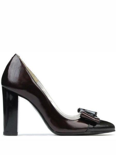 Pantofi De Piele Cu Toc Gros Si Fundia