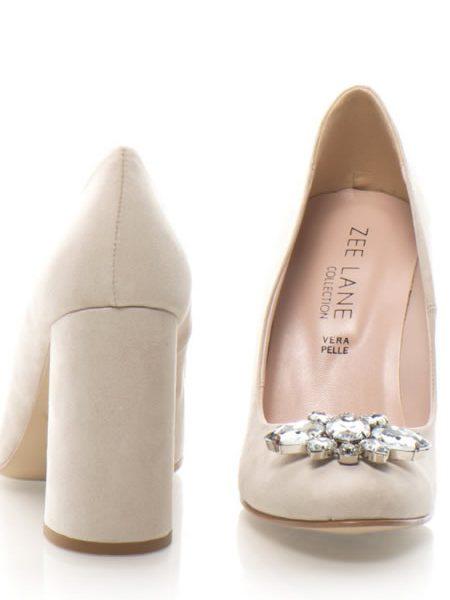 Pantofi De Piele Cu Toc Gros Si Pietre