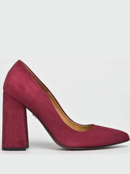 Pantofi De Piele Cu Toc Inalt Gros