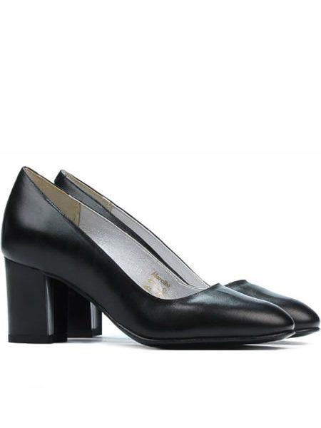 Pantofi De Piele Cu Toc Mediu