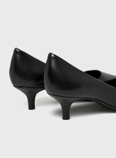 Pantofi Din Piele Cu Toc Kitten Heel