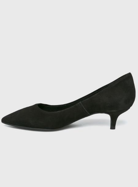 Pantofi Din Piele Intoarsa Cu Toc Kitten Heel Negri