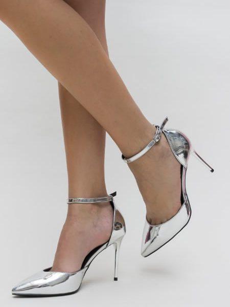 Pantofi Eleganti Argintii De Seara