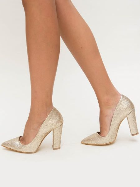 Pantofi Eleganti Cu Toc Gros Si Sclipici Aurii