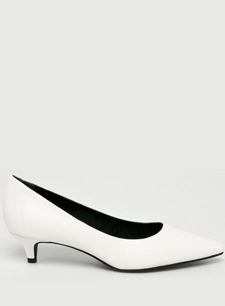 Pantofi Eleganti Cu Toc Jos Albi