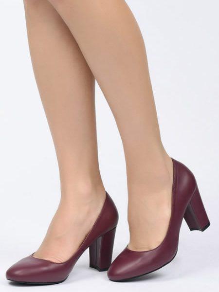 Pantofi Grena Cu Toc Mediu 7 Cm