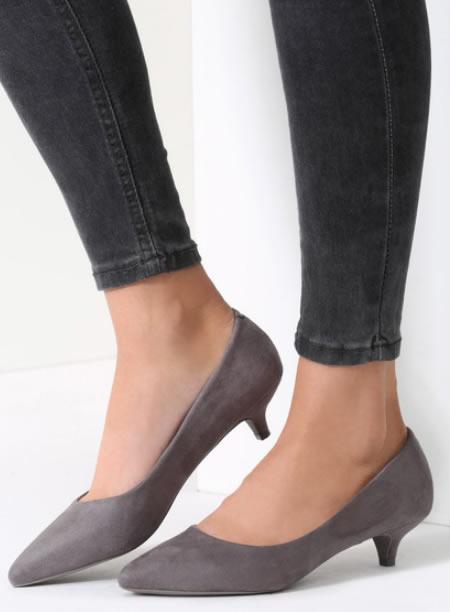 Pantofi Gri Ascutiti Cu Toc Mic Si Subtire