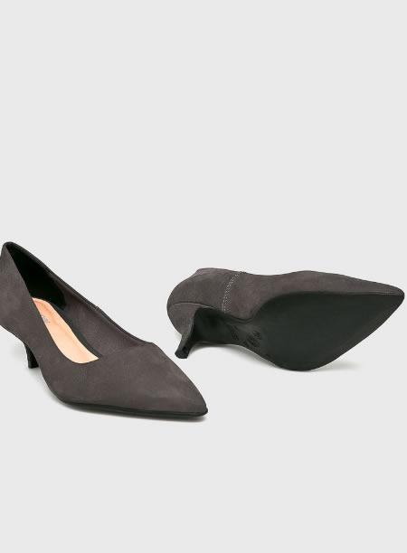 Pantofi Gri Cu Toc Kitten Heel