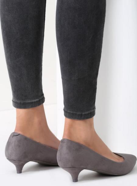 Pantofi Gri Cu Toc Mic Si Subtire