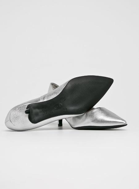 Pantofi Ieftini Argintii Din Piele