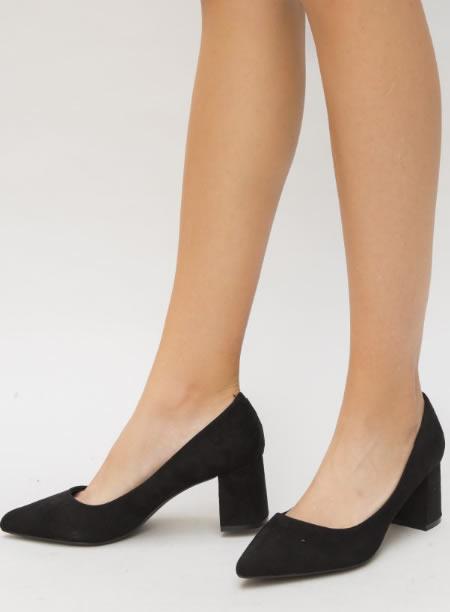 Pantofi Ieftini Cu Toc Mic Negri