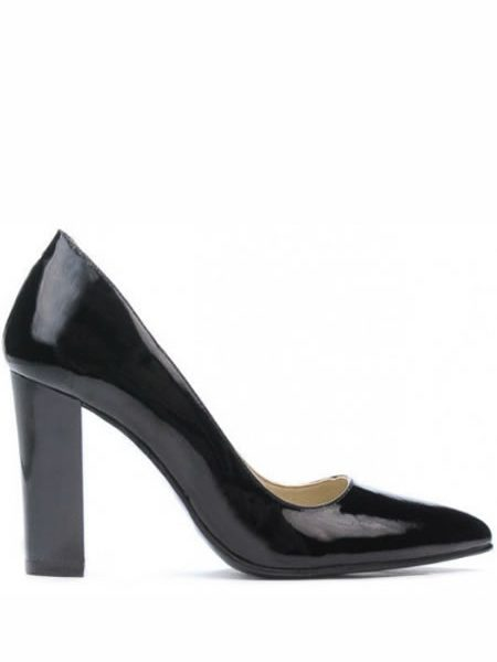 Pantofi Ieftini De Piele Cu Toc Gros Negri