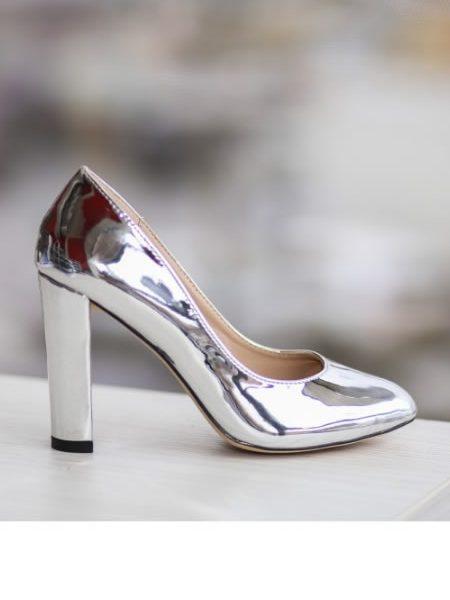 Pantofi Lac Cu Toc Gros Argintii