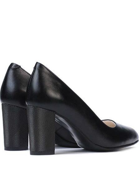 Pantofi Neggri Din Piele Cu Toc Mediu