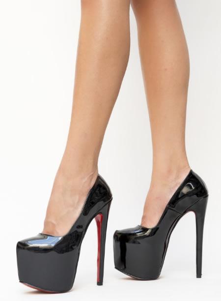 Pantofi Negri Cu Platforma Inalta Si Toc Gros