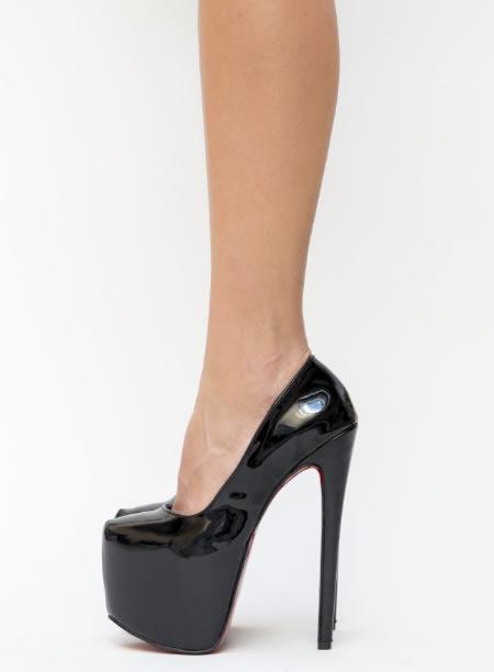 Pantofi Negri Cu Talpa Rosie Si Platforma Foare Inalta