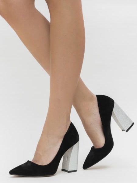 Pantofi Negri Cu Toc Gros Argintiu Evazat