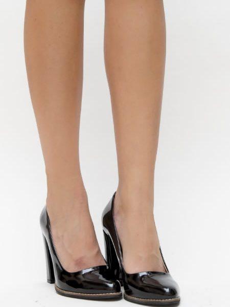 Pantofi Negri Cu Toc Gros Ieftini