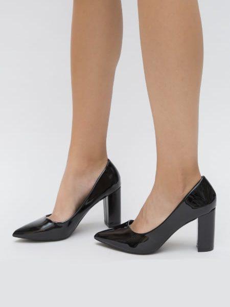 Pantofi Negri Cu Toc Gros Stiletto