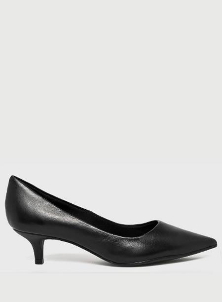 Pantofi Negri Cu Toc Mic Kitten Heel