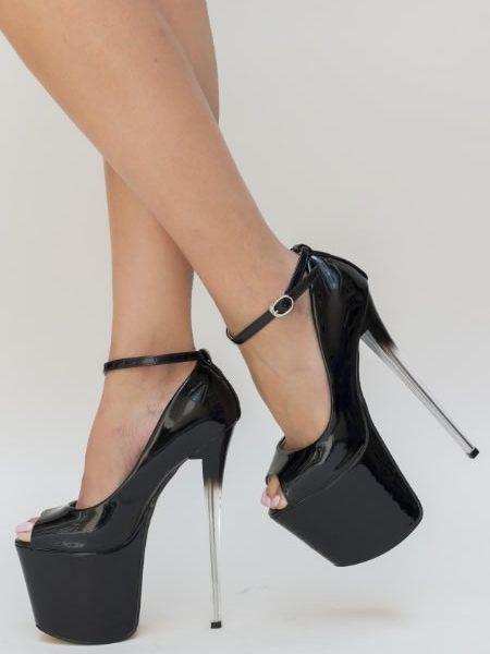 Pantofi Negri Cu Toc Si Platforma