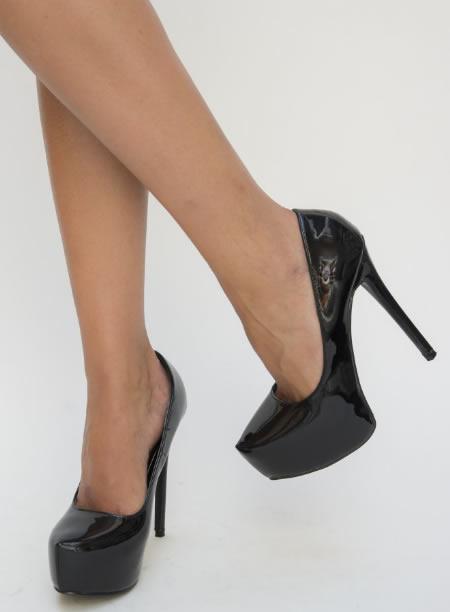 Pantofi Negri Cu Toc Si Platforma Ieftine